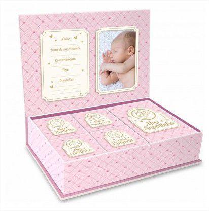 Imagem de Caixa Porta Lembrança Bebê - Meus pequenos Tesouros Rosa Brasfoot