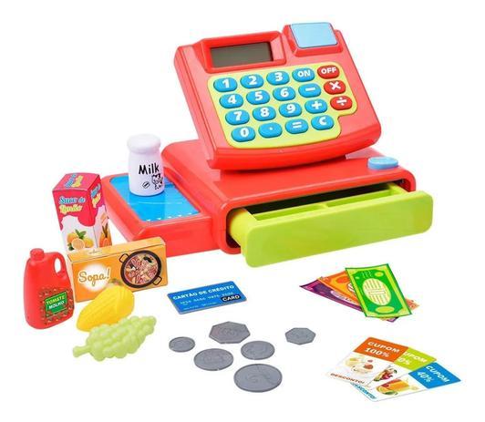 Imagem de Caixa Registradora Infantil C/ Acessórios Luz Som Brinquedo Abre a Gaveta e Função Calculadora