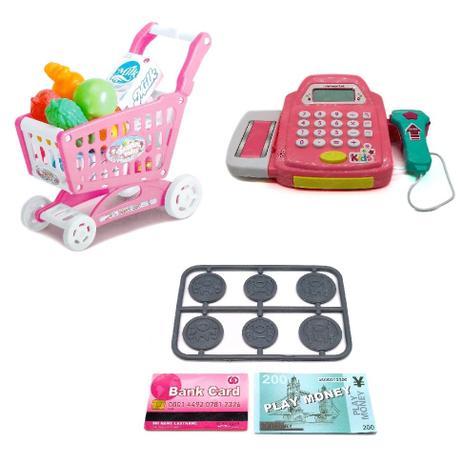 6a86d1588e Caixa registradora infantil com carrinho de compras e mini mercado e  feirinha com acessorios para me - Gimp