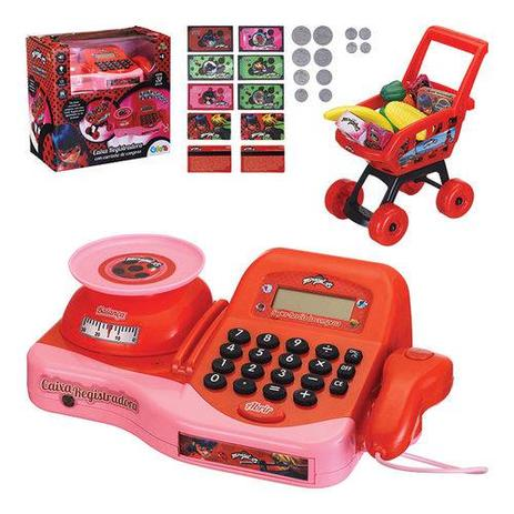 0b9458ddec Caixa Registradora Infantil com Carrinho de Compras Miraculous - Art brink