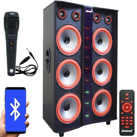 Imagem de Caixa Som Amplificada Bluetooth 3000W Rms 6 Subwoofer Led Microfone Bivolt Amvox ACA 3000 Paredão