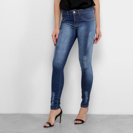 Imagem de Calça Jeans Skinny Chocomenta Estonada Puídos Cintura Baixa Feminina