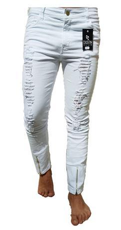 4913bae0 Calça Masculina Jeans Rasgada Premium Destroyed Slim Skinny Lycra Ziper -  Dustin club