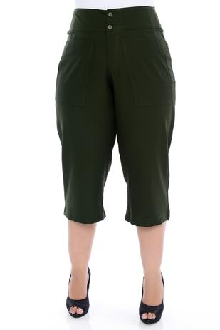 Imagem de Calça Plus Size Pantacourt Verde Militar