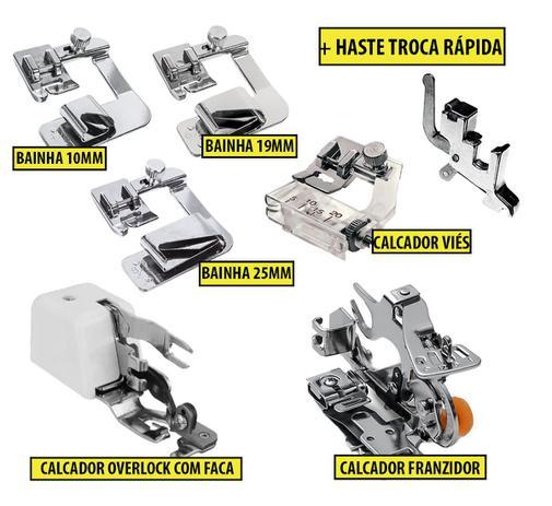 Imagem de Calcador Overlock + Franzidor + Viés +Bainhas 10mm 19mm 25mm