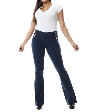 2915f70845 Calças Jeans Femininas Flare Azul Sawary Lycra Cintura Alta - Calça ...
