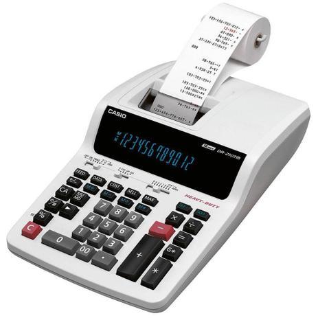 Imagem de Calculadora Casio Impressora e Bobina DR-210TM Branca - 220V
