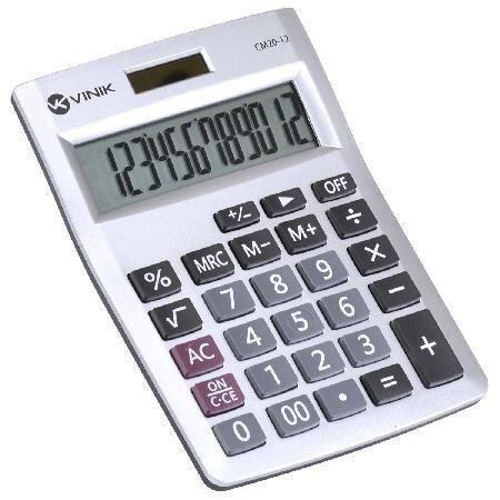 Imagem de Calculadora de Mesa 12 Digitos com Alimentacao Solar ou a Pilha - CM20 Prata