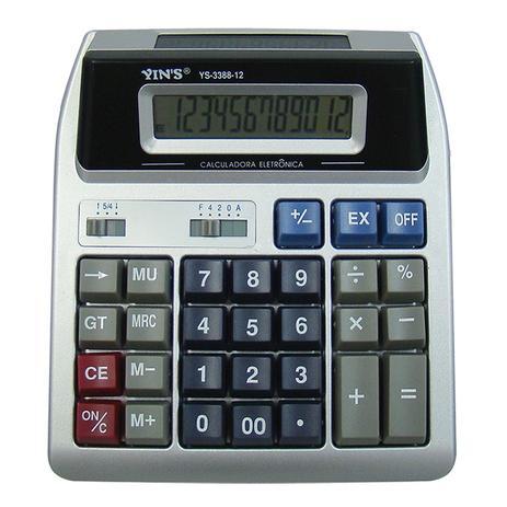 Imagem de Calculadora Digital De Mesa Com 12 Dígitos Visor Duplo Yins