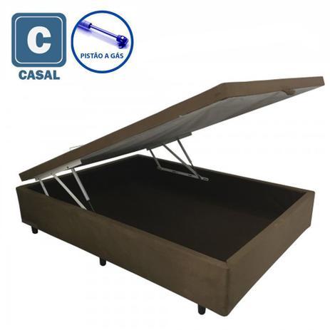 Imagem de Cama Box Baú Casal em suede marrom com Pistão a gás - 138x188