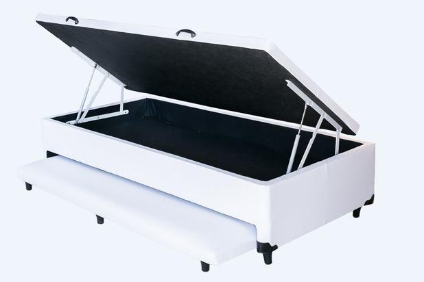 Imagem de Cama Box Baú Solteiro Com Auxiliar Branco 0,88 x 1,88