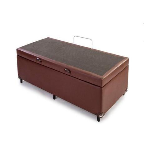 Imagem de Cama Box Bau Solteiro Luxo 88 X 188 Suede Marrom