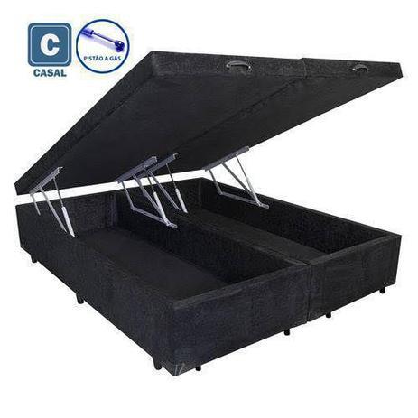 Imagem de Cama Box Casal com Bau Pistão a gás preto suede Bipartido - 138x188x35