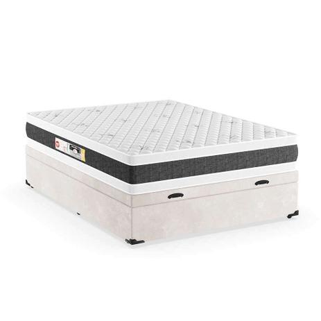 Imagem de Cama Box Casal Premium com Baú Suede Pena Bege  com Colchão Black White D45 Branco