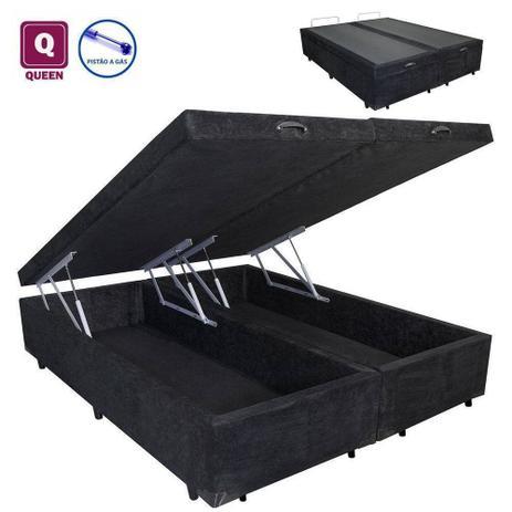 Imagem de Cama Box QUEEN SIZE com Bau Pistão a gás preto suede Bipartido - 158x198x27