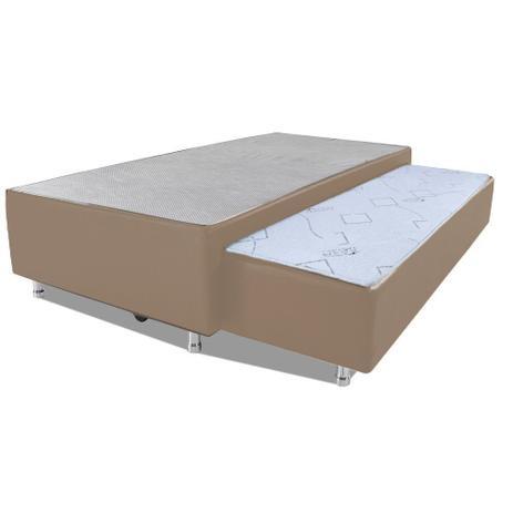 Imagem de Cama Box Solteiro com Auxiliar Mola Bonnel Sintético Bege 50x78x188
