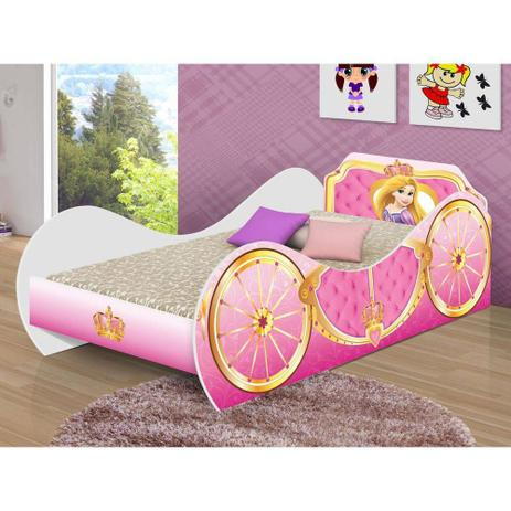 6f385cf92a cama carruagem solteiro infantil adesivada princesa c  colchão - Movex