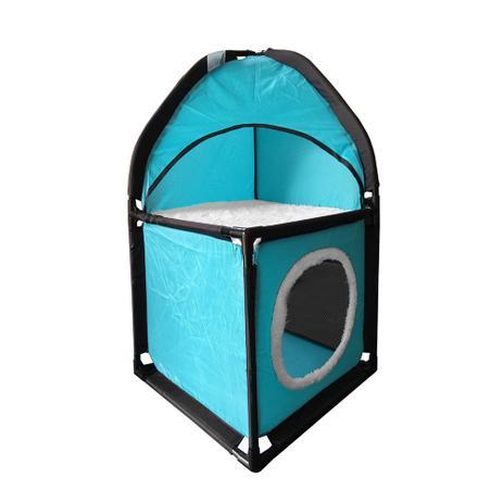 Imagem de Cama Casinha Toca Caixa Tunel Para Gato Pet 69 X 36 Azul