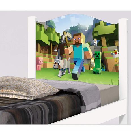 a52e48d54f Cama Infantil Adesivada Minecraft Cambel Móveis Branco - Cama ...