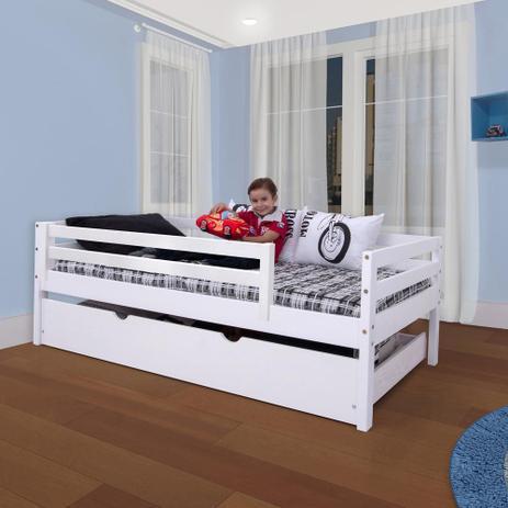 Cama infantil c grade de prote o e gavet o ou cama - Mesa auxiliar de cama ...