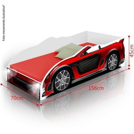 f0e1f1715d Cama Infantil Carro Sport com LED e com Colchão - Vermelho - Divaloto