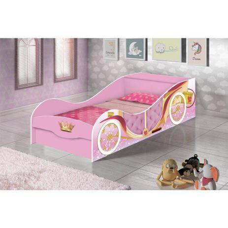 44ebb9df41 Cama Infantil Carruagem com Bau Rosa - JA Móveis - J a móveis - Cama ...