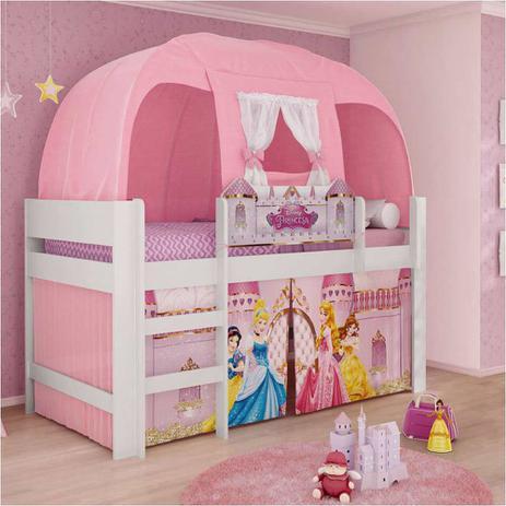49569f03e8 Cama Infantil com Dossel Barraca Princesas Disney Play Pura Magia ...