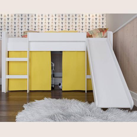Imagem de Cama Infantil com Escorregador e Escada Amarelo Lilies Móveis