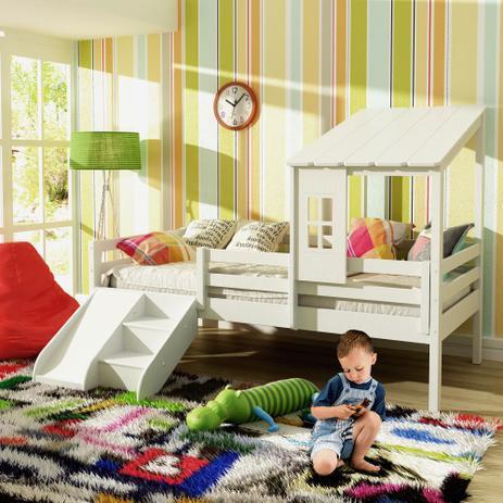 Cama Infantil Prime com Telhadinho II Grade de Proteção e Kit Escadinha   Escorrega - Casatema fa3f5154d0