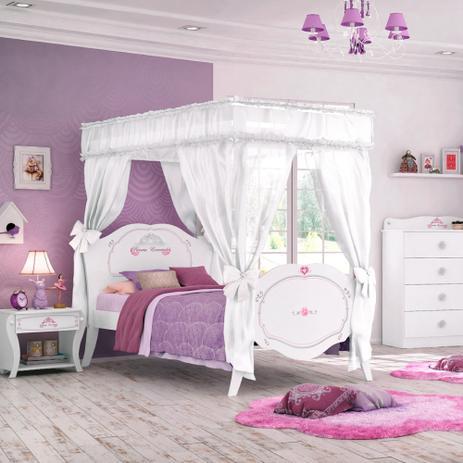 Cama infantil princesa encantada clean com dossel pura - Camas infantiles de princesas ...