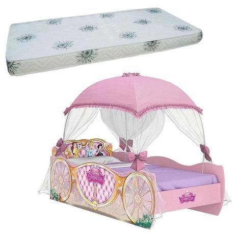 be9774d144 Cama Infantil Princesas Disney Star com Dossel Rosa e Colchão Solteiro  Ortobom - Pura Magia