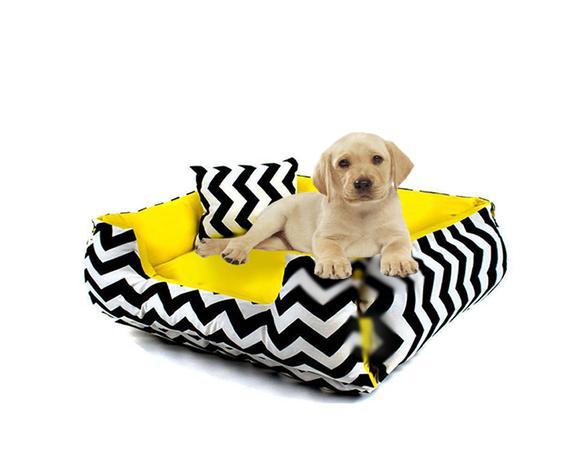 Imagem de Cama Pet para câes e gatos Dupla face -Sophie Decora -Chevron -Amarelo-Tamanho (P)
