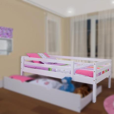 64b15bddda Cama Solteiro Infantil c  Grade de Proteção Madeira Maciça - Meninas -  Casatema