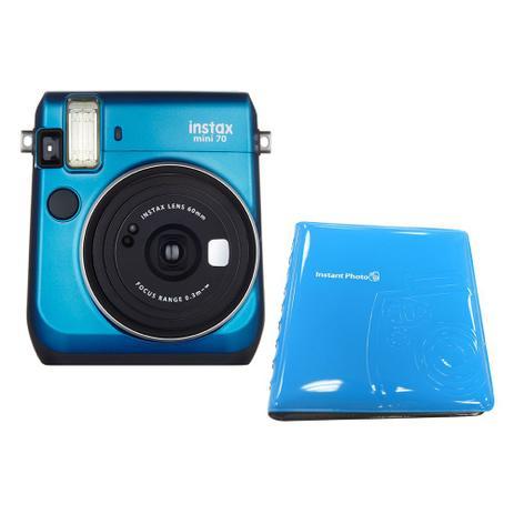612509d715058 Câmera Instantânea FujiFilm Instax Mini 70 Azul + Álbum para 64 Fotos