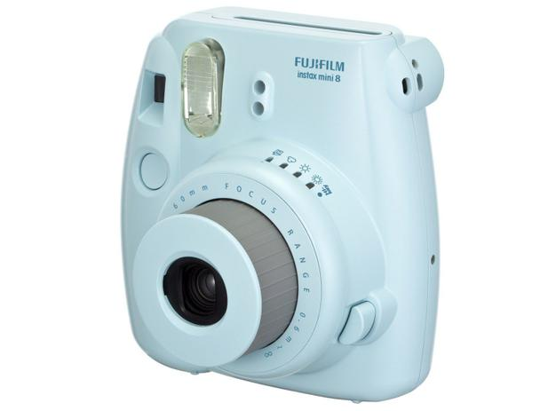Câmera Instantânea Fujifilm Instax Mini 8 Azul - Flash Automático Foco Regulável