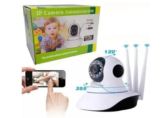aa1a6780d Câmera Ip 3 antenas 720p HD Wireless Wifi - Onvif - Câmera IP ...