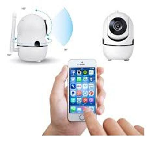 Imagem de Câmera Ip Wifi Giratória 1080p Estilo Babá Eletrônica Com Visão Noturna e Alerta De Movimento