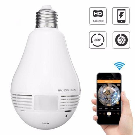 Camera Lampada Led Wifi IP HD Panoramica Única 360º Espião - Importada a042a40bb3