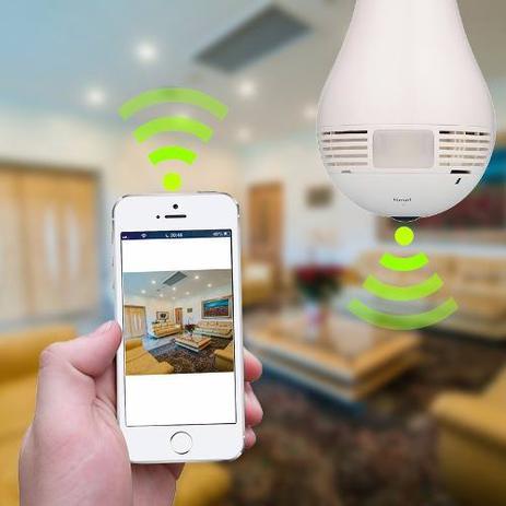 Camera Lampada Wifi Ip Led Hd Panoramica 360º Espiao Celular Hb