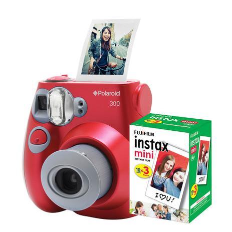 451a5c2c6227f Câmera Polaroid instantânea PIC 300 Vermelha c  filme 30 poses ...