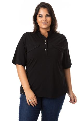 Imagem de Camisa Feminina em Tricoline com Botões Plus Size