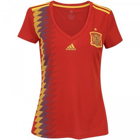 ade67ee70 Camisa Feminina Espanha Home Adidas Copa 2018 - Camisa de Time ...
