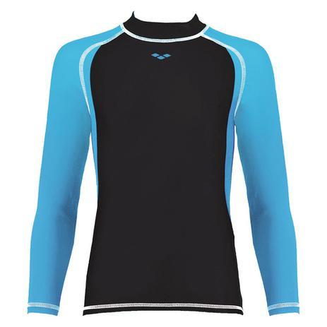 Camisa Feminina Juvenil Manga Longa UV Tam 14-15 Preta E Azul Arena ... 75d5a4f07e438