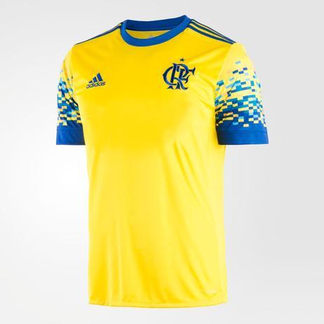 0811477e78 Camisa Flamengo III 17 s/nº Torcedor Adidas Masculina - Amarelo e Azul