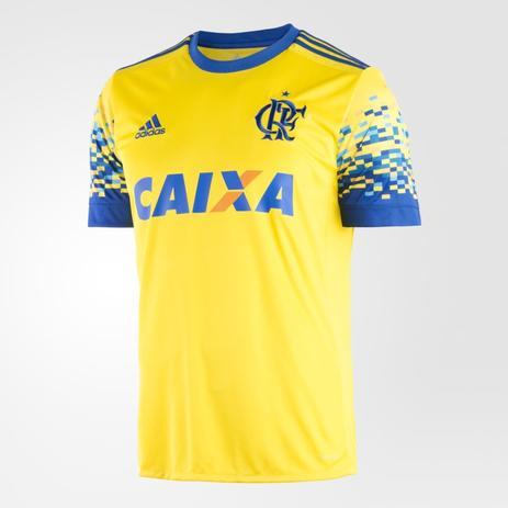 5fb5a54f35 Camisa Flamengo III 2017 2018 Adidas Amarela c/ patrocínio ...
