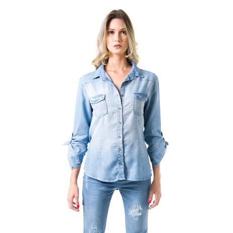 5ecdb3b42c0a8a Camisa Jeans Bloom Ajustada Azul Claro - Camisa Feminina - Magazine ...