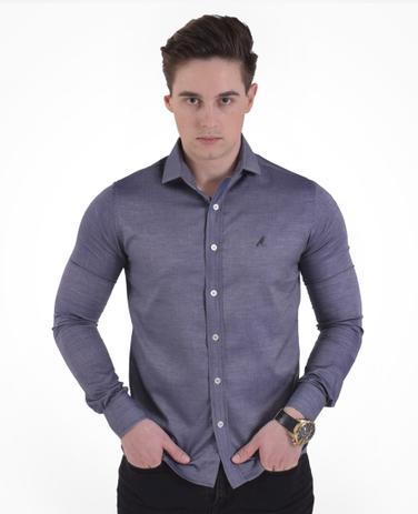 61bb1d258 Camisa Masculina Social Cinza Slim - Hórus oficial - Camisas ...
