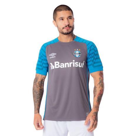 Imagem de Camisa Masculina Umbro Grêmio Goleiro Oficial 2021 Cinza/Azul