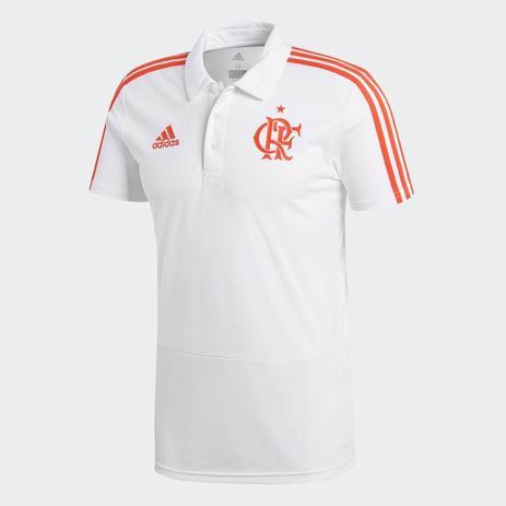 5a96aa9e4b Camisa Polo Flamengo adidas Original Viagem Branca 2018 - Vestuário ...