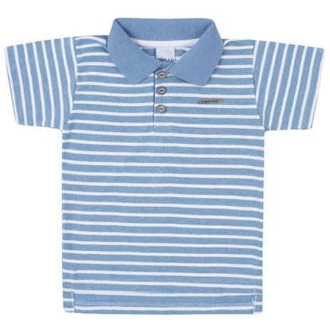 35226ac0c Camisa Polo - Malha Listrada - Azul